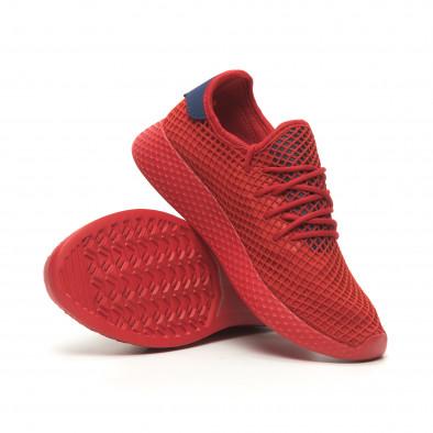 Ανδρικά κόκκινα αθλητικά παπούτσια Mesh με μπλε λεπτομέρειες it230519-8 4