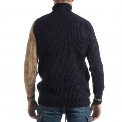 Ανδρικό πουλόβερ σε σκούρο μπλε και μπεζ it051218-56 3