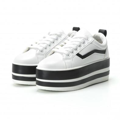Γυναικεία λευκά sneakers με πλατφόρμα και μαύρες λωρίδες it250119-99 3
