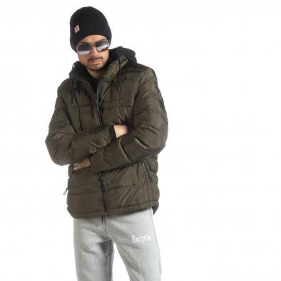 Ανδρικό χειμερινό μπουφάν με κουκούλα σε χρώμα military  it051218-63 2