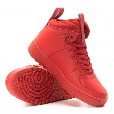 Ανδρικά κόκκινα ψηλά sneakers με τρακτερωτή σόλα it301118-8 4