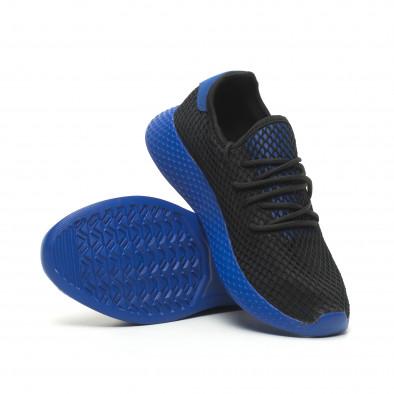 Ανδρικά μαύρα αθλητικά παπούτσια Mesh με μπλε λεπτομέρειες it230519-11 4