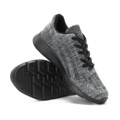 Ανδρικά υφασμάτινα αθλητικά παπούτσια  σε γκρι μελάνζ χρώμα it301118-6 4