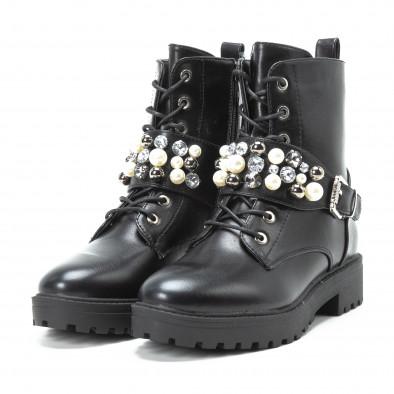Γυναικεία μαύρα μποτάκια με πέρλες και διακοσμητικές πέτρες it140918-61 3