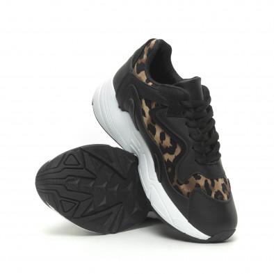 Γυναικεία μαύρα αθλητικά παπούτσια με λεοπάρ λεπτομέρειες it230519-17 4