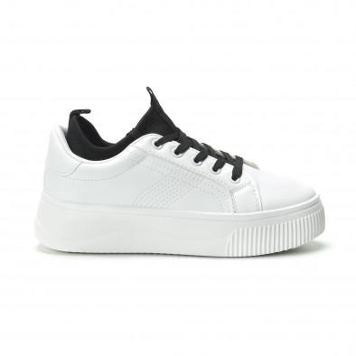 Γυναικεία λευκά sneakers με διακοσμητικό καλτσάκι it250119-85 2