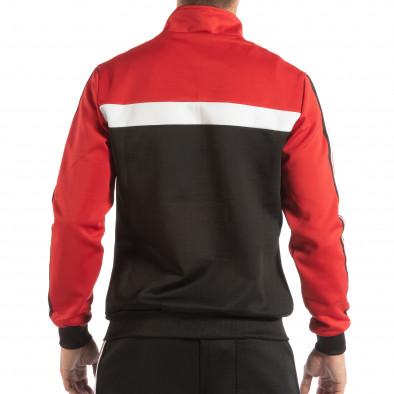 Ανδρικό μαύρο φούτερ με ριγέ 5 striped σε κόκκινο it240818-107 3