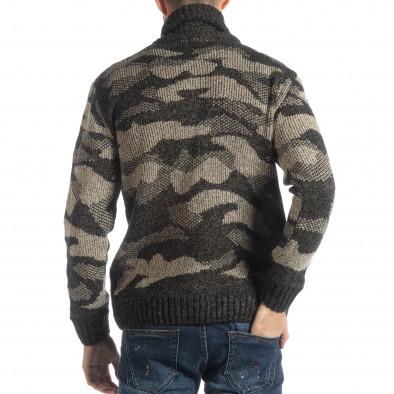 Ανδρικό καφέ πουλόβερ παραλλαγής με γιακά it051218-52 3