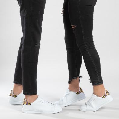 Λευκά sneakers για ζευγάρια με διακοσμητική λεπτομέρεια cs-it150319-6-it150319-51 2