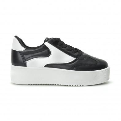 Γυναικεία μαύρα sneakers με πλατφόρμα κλασικό μοντέλο it250119-98 2