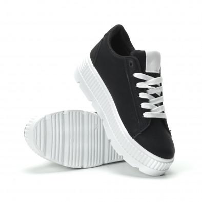 Γυναικεία μαύρα sneakers με πλατφόρμα και λευκή λεπτομέρεια it250119-96 4