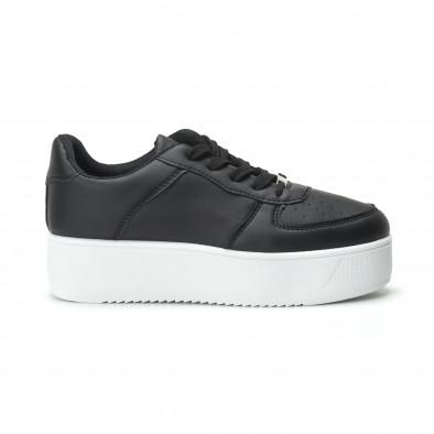 Basic γυναικεία μαύρα sneakers με πλατφόρμα it250119-95 2