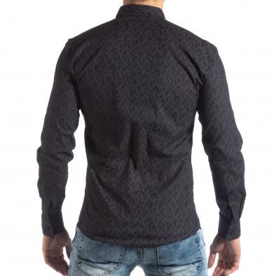 Ανδρικό Slim fit σκούρο μπλε πουκάμισο με μοτίβο φύλλα it210319-100 4