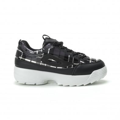 Γυναικεία μαύρα καρέ sneakers με Chunky πλατφόρμα it250119-54 2