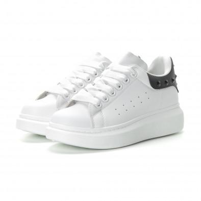 Γυναικεία λευκά sneakers με μαύρη λεπτομέρεια και τρουκς it270219-11 3