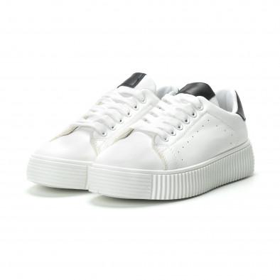 Γυναικεία λευκά sneakers με μαύρη λεπτομέρεια it250119-65 3