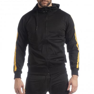 Ανδρική μαύρη Biker ζακέτα με κίτρινες ρίγες it040219-106 3