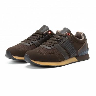 Ανδρικά καφέ αθλητικά παπούτσια από συνδυασμό υφασμάτων it140918-6 3