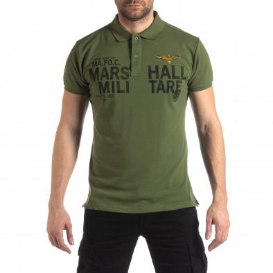 Ανδρική πράσινη κοντομάνικη πόλο Marshall Militare it210319-88 2