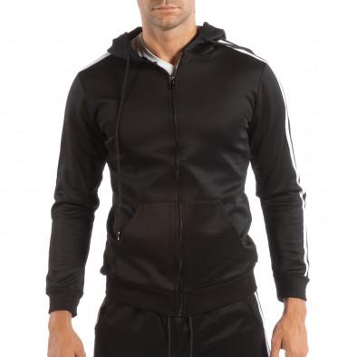 Ανδρικό μαύρο φούτερ με κουκούλα και λευκό ριγέ it240818-105 2
