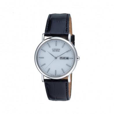 Ανδρικό ρολόι Citizen Eco-Drive White Dial Black Leather Calendar BM8241-01A