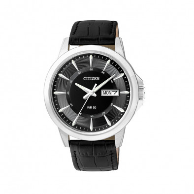 Ανδρικό ρολόι Citizen Black Dial Black Leather BF2011-01EE