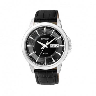 Ανδρικό ρολόι Citizen Eco-Drive Black Dial Black Leather BF2011-01EE