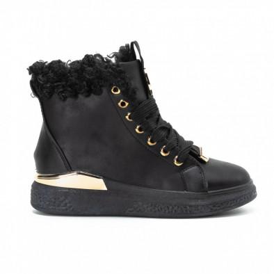 Γυναικεία μαύρα ψηλά Sneakers με χρυσές λεπτομέρειες it081018-2 3