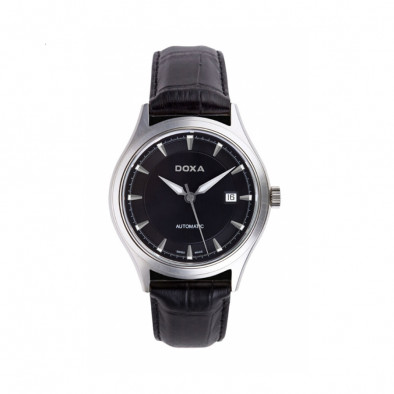 Ανδρικό ρολόι Doxa Tradition Black Dial Black Leather