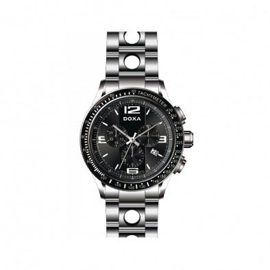 Ανδρικό ρολόι Doxa Trofeo  Sport Chronograph Black Dial Steel