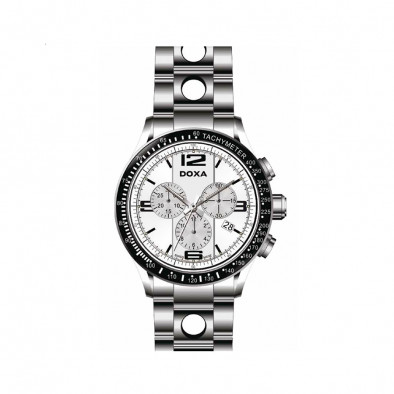 Ανδρικό ρολόι Doxa Trofeo Chronograph White Dial Stainless Steel  Men's