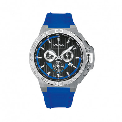 Ανδρικό ρολόι Doxa Splash Chronograph Black Dial Blue Rubber