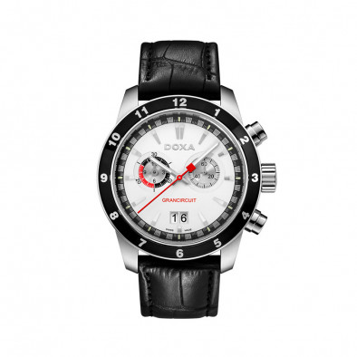 Ανδρικό ρολόι Doxa Grancircuit Chronograph White Dial Black LEather