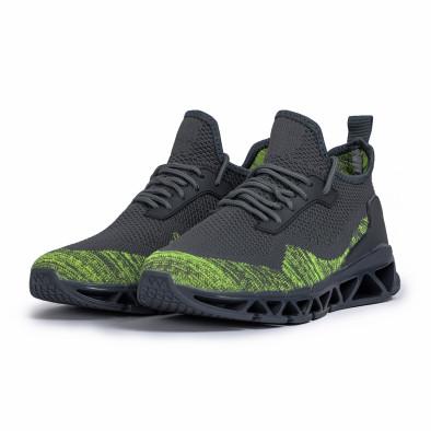Ανδρικά γκρι-πράσινα αθλητικά παπούτσια Knife it140720-12 3
