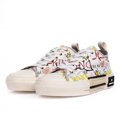 Ανδρικά λευκά sneakers με πριντ tr190620-1 4