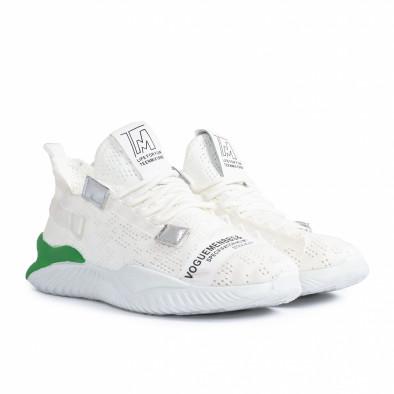 Ανδρικά λευκά sneakers με πρασινή λεπτομέρεια gr020221-4 4