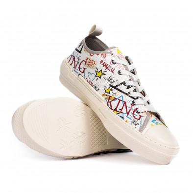 Ανδρικά λευκά sneakers με πριντ tr190620-1 5