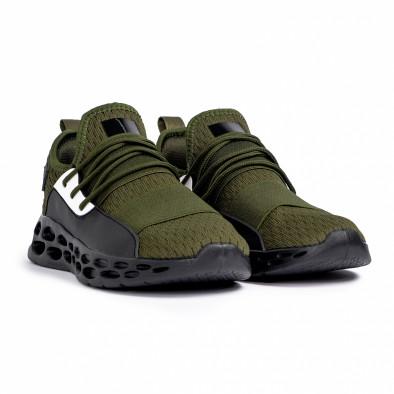 Ανδρικά πράσινα αθλητικά παπούτσια κάλτσα με λάστιχο it180820-4 3