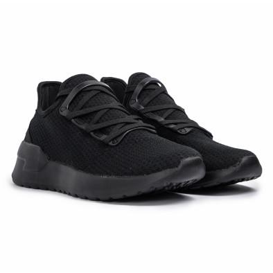 Ανδρικά μαύρα sneakers κάλτσα Lace detail it260620-9 3