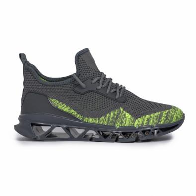 Ανδρικά γκρι-πράσινα αθλητικά παπούτσια Knife it140720-12 2