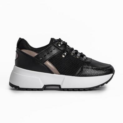 Sneakers με συνδυασμό υλικών σε μαύρο χρώμα it280820-10 2