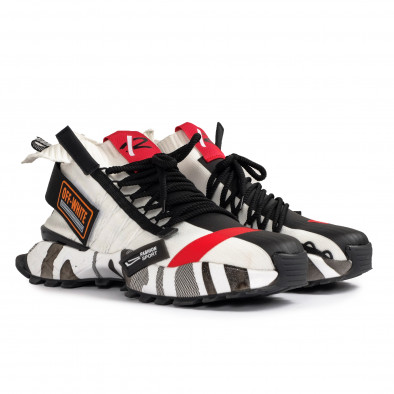 Destructured Chunky ανδρικά λευκά sneakers gr020221-15 4