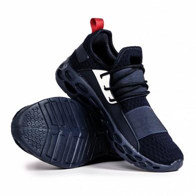 Ανδρικά γαλάζια αθλητικά παπούτσια κάλτσα με λάστιχο it180820-9 4