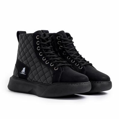Ανδρικά μαύρα ψηλά sneakers με καπιτονέ tr221220-1 3