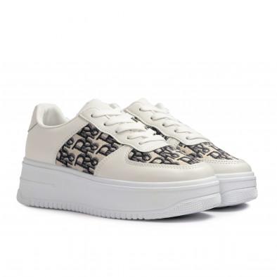 Γυναικεία λευκά sneakers με πλατφορμα it110221-4 4