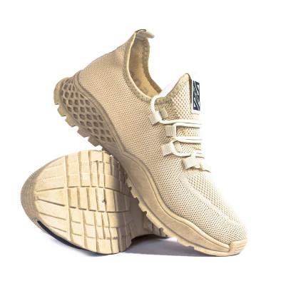 Ανδρικά μπεζ sneakers με λεπτομέρεια gr020221-3 5