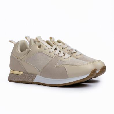 Γυναικεία μπεζ sneakers με λεπτομέρεια glitter it110221-6 4
