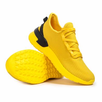 Ανδρικά κίτρινα sneakers κάλτσα Lace detail it260620-12 4