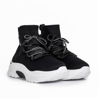 Γυναικεία μαύρα ψηλά sneakers κάλτσα it161220-15 3