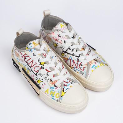 Ανδρικά λευκά sneakers με πριντ tr190620-1 3